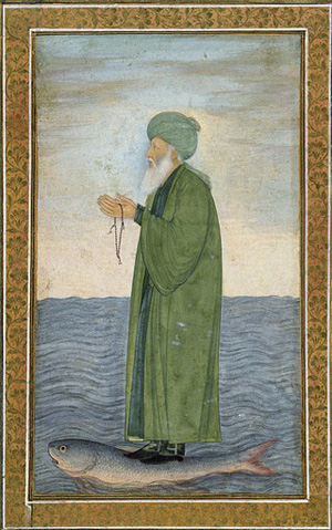 Al-Khadir crosses the River of Life upon a fish