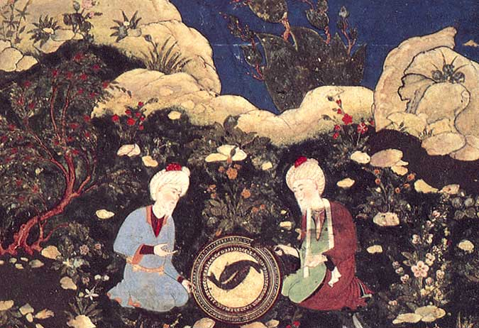 Al-Khadir (right) and companion Zul-Qarnain (al-Sikandar) marvel at the sight of a salted fish that comes back to life when touched by the Water of Life